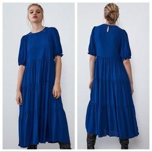 NWT. Zara Bluish Puff Sleeves Midi Dress. Size S.
